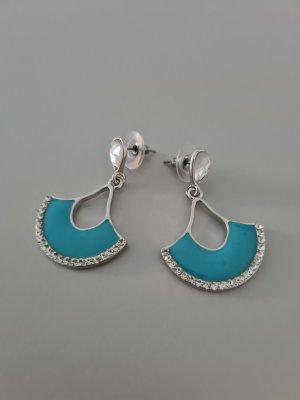 Scarlet Bijoux Pendientes de cuentas color plata-azul claro
