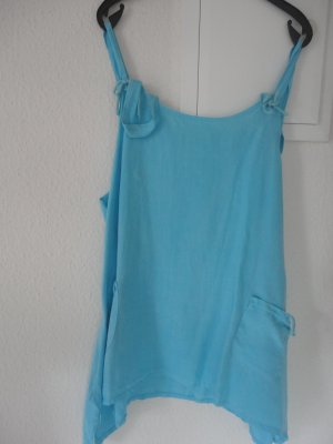 Linen Blouse light blue-turquoise linen