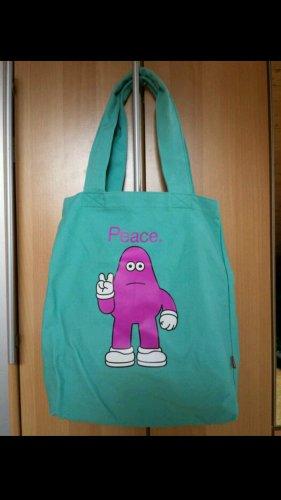 Bolsa de arpillera turquesa-rosa