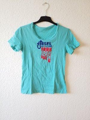 türkisenes T-Shirt mit Aufschrift. Größe S, 100 % Baumwolle