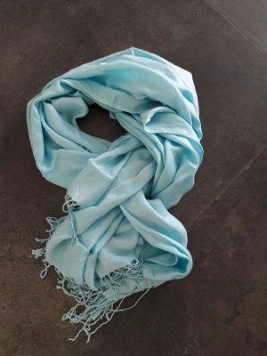 Sjaal met franjes lichtblauw Viscose
