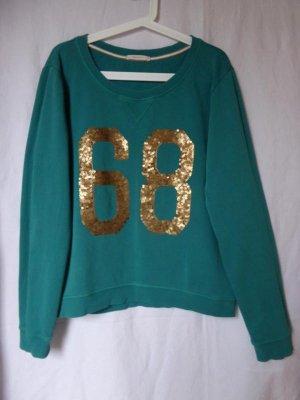 Türkiser Sweat-Pullover mit goldenen Pailetten von Esprit