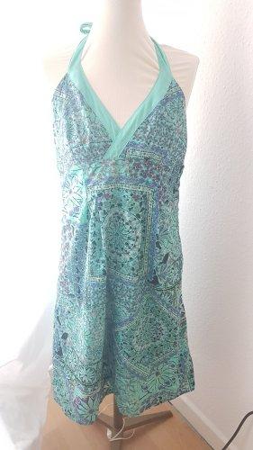 Promod Sukienka z dekoltem typu halter jasnoniebieski-turkusowy Bawełna