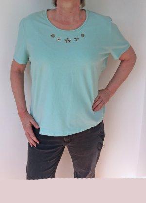 türkisfarbenes T-Shirt von Basler mit Perlenverzierungen, Größe 50