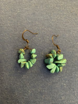 Handmade Boucle d'oreille incrustée de pierres bronze-turquoise