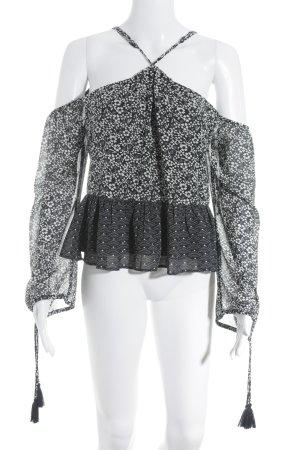 Tularosa Carmen-Bluse schwarz-wollweiß abstraktes Muster Casual-Look Zara Ibiza Boho