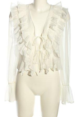 Tularosa Ruffled Blouse white weave pattern business style