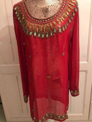 Blusa de túnica rojo oscuro Poliéster