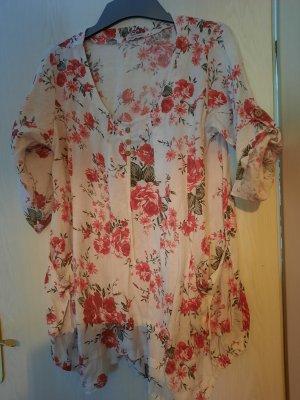 Made in Italy Blusa de lino blanco-rojo
