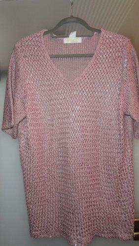 Top en maille crochet rose acrylique
