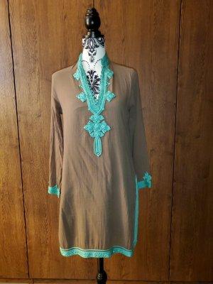Calzedonia Vestido tipo túnica marrón grisáceo-turquesa