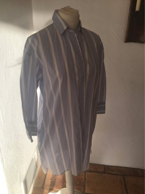 Mango Long Blouse natural white-azure cotton