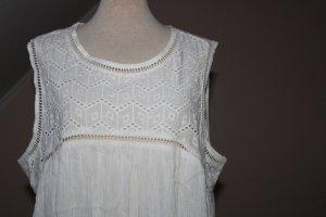 Tunika ärmellos Kleid kurz weiß UK 20 EU 48 Lochstickerei