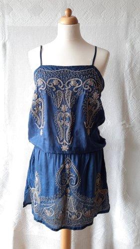Sukienka tunika beżowy-stalowy niebieski