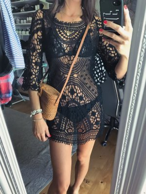 Tunika beach black lace blogger