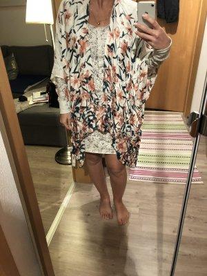 Tunika Blumen Kimono Morgenmantel