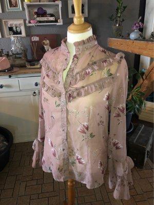 Blusa con collo alla coreana rosa antico