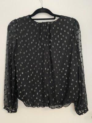 Tunika Bluse in schwarz mit Silber Details