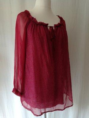 Tunika-Bluse, Seide + Viskose, transparente Ärmel, rot