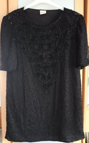 Tunika Bluse Seidenbluse mit Pailletten schwarz Gr.36 38
