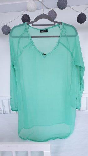 Tunika Bluse Shirt transparent türkis Umstandsshirt Schwangerschaft 36 38 40 S M L