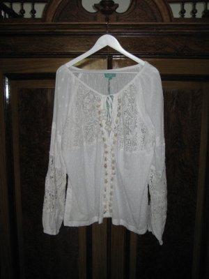 Antica Sartoria Bluzka typu carmen biały Bawełna