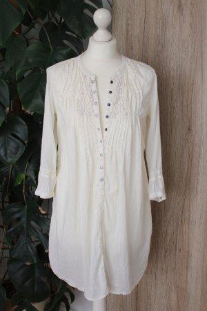 Tunika Boho Longbluse Cremeweiß Hippie Kleid Stickerei M 38