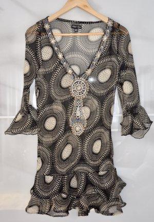 Tunika Chilli Pepper leicht transparent mit Steinen & Perlen schwarz weiß Gr 34/36 Neu