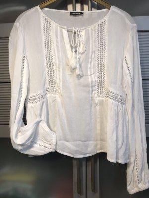 Tunika Ethno Stil Weiß Langarm