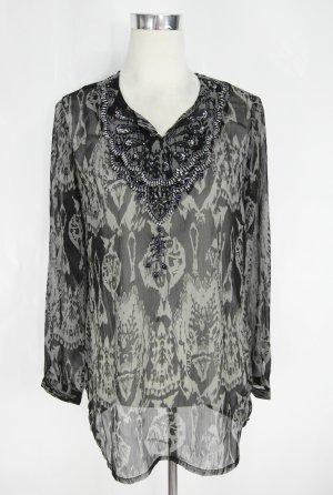 Lange blouse zwart-antraciet Polyester
