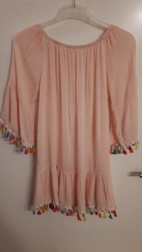 Camicia a tunica albicocca-rosa pallido