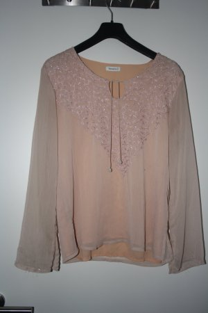 Tunika Kaftan Bluse mit Stickerei rose Gr. M