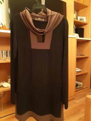 Piú & Piú Sukienka tunika czarny-brązowy Włókno octanowe