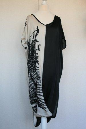 Sukienka tunika biały-czarny Wiskoza