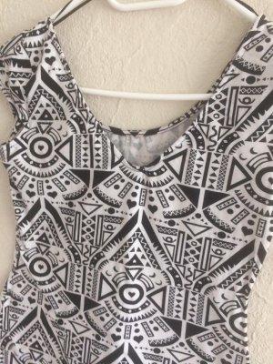Tunika Kleid Schwarz Weiß Figurbetont Mini kurzärmlig
