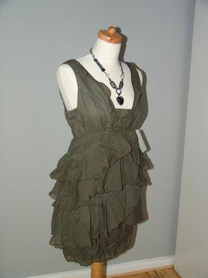 Zara Sukienka typu babydoll khaki Bawełna