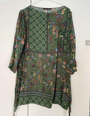 Tunika Kleid von Zara Gr. 36 small grün bunt wie neu