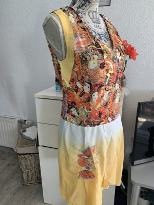 Tunika Kleid - Yellow/ColorPrint - Größe M 38 - Pailletten