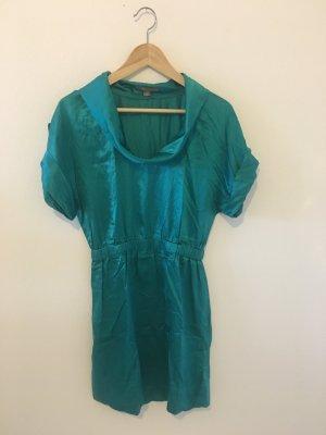 Tunika Long Top Oberteil Shirt Sommer Mini Kleid Schlupfkleid Halbarm Kimono blau grün Petrol Satin matt glänzend bequem Seide soll Baumwolle