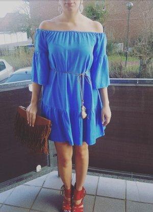 Tunika Maxikleid Kleid blau taubenblau boho off shoulder blogger hipster