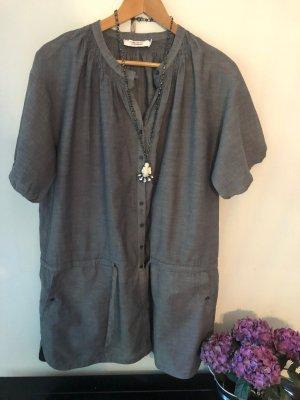 Tunika mit Seitentaschen - Jeansblau leichte Baumwolle