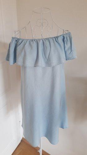 Bershka Vestido de un hombro azul claro