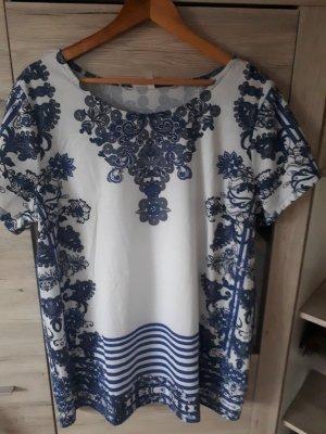 Sheego Camicia a tunica bianco-blu