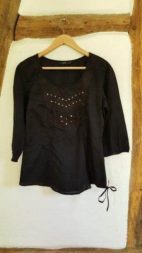 Tunika Shirt Bluse, schwarz mit Nieten, Hippie, Boho, Ethno, casual