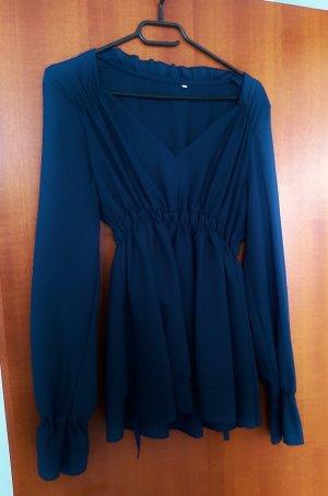 markenlos Camisa tipo túnica azul-azul oscuro