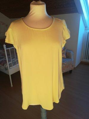 Tunika Shirt Bluse zitronengelb Spitze forever21