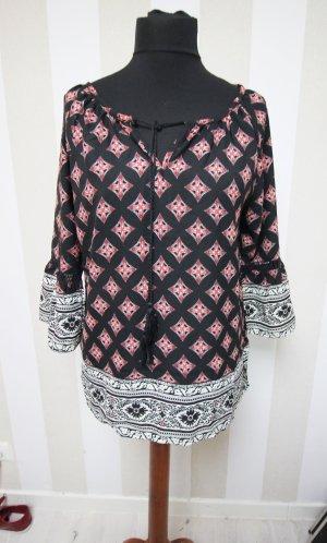 Camicia a tunica nero-rosso