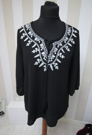 Camisa tipo túnica negro-blanco