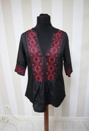 Camicia a tunica nero-rosso scuro