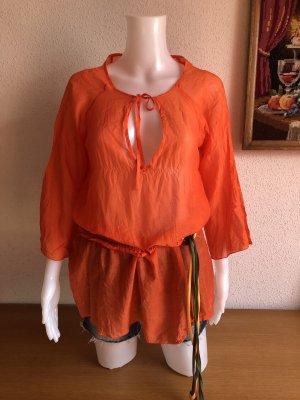 Tunika Transparente lange Bluse Strandkleid Seide Miss Sixty